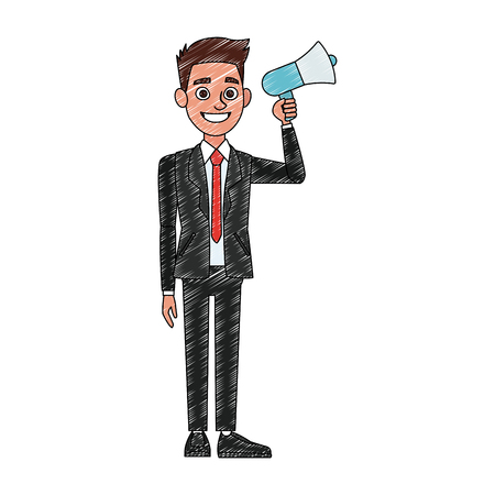 Politician speaking with bullhorn vector illustration graphic design Ilustrace