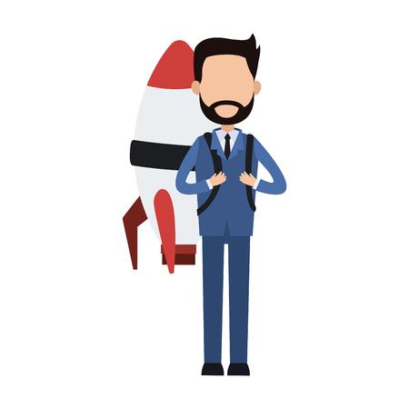Businessman with rocket cartoon vector illustration graphic design