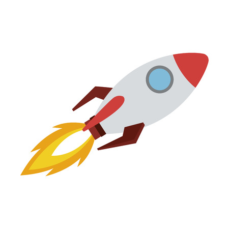 Spaceship flying cartoon vector illustration graphic design Vektorové ilustrace
