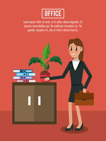 Office workplace banner information vector illustration graphic design Vettoriali