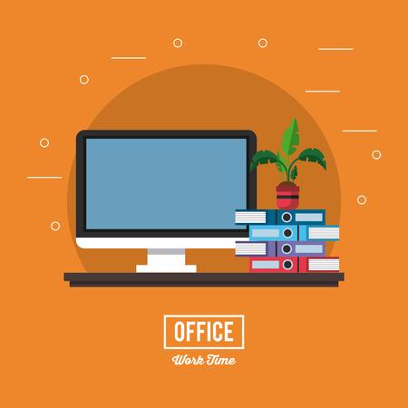 Business office interior banner information vector illustration graphic design 免版税图像 - 102103273