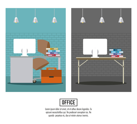 Business office interior banner information vector illustration graphic design