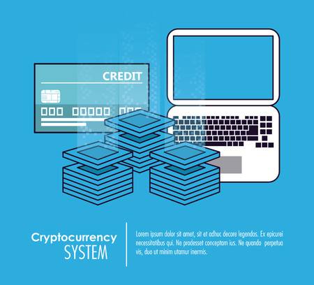 Cryptocurrency system banner information blue and white design vector illustration Illustration