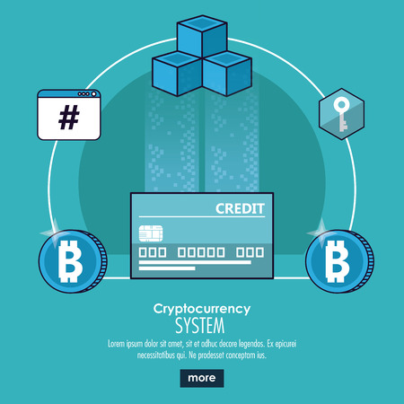 Cryptocurrency system banner information blue and white design vector illustration Vectores