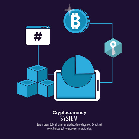Cryptocurrency system and market place banner information blue and white design vector illustration