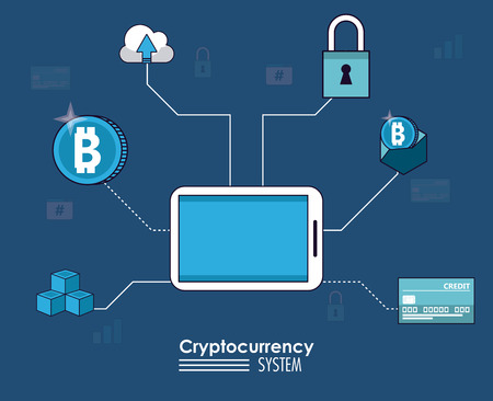 Cryptocurrency system and market place banner information blue and white design vector illustration Stock Vector - 102103897
