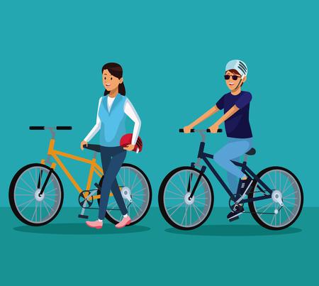 Couple riding bikes cartoons vector illustration graphic design Illustration