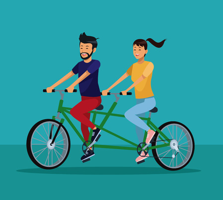 Couple riding double bike cartoon vector illustration graphic design