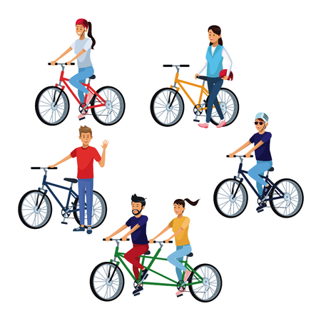 Set of people riding bikes cartoons vector illustration graphic design