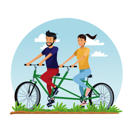 Couple riding double bike at park cartoon vector illustration graphic design