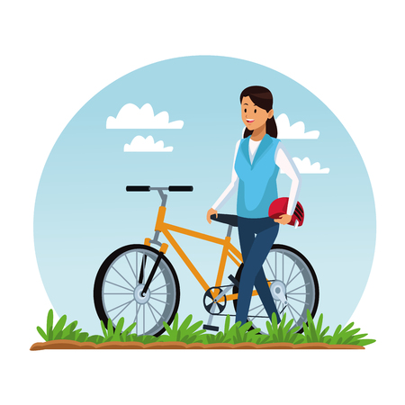 Woman riding a bike at park vector illustration graphic design Illustration