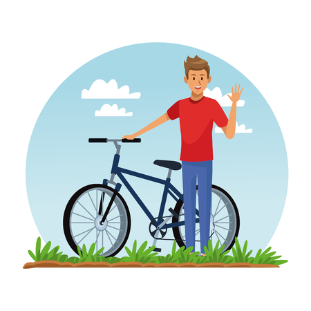 Young man riding bike at park vector illustration graphic design Illustration
