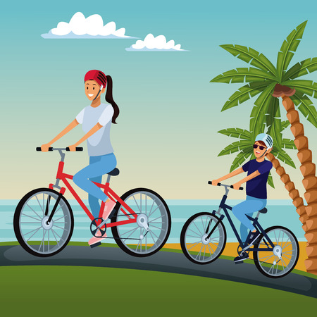Cute couple riding bikes at beach vector illustration graphic design Illustration