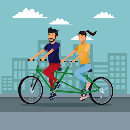Couple riding a double bike at city vector illustration graphic design