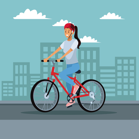 Woman riding a bike at city vector illustration graphic design