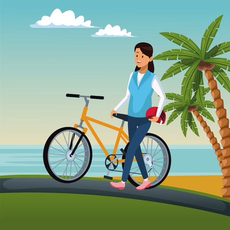 Woman riding a bike at beach vector illustration graphic design