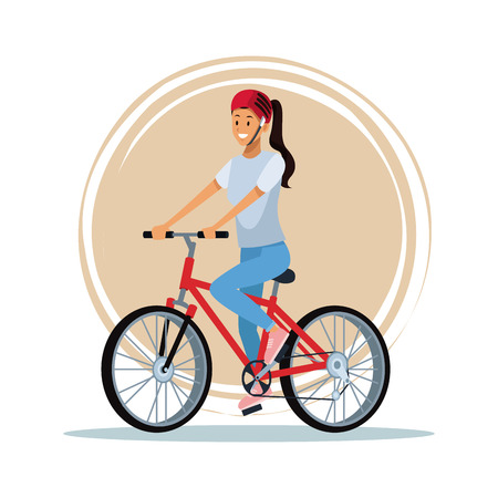 Woman riding a bike cartoon vector illustration graphic design