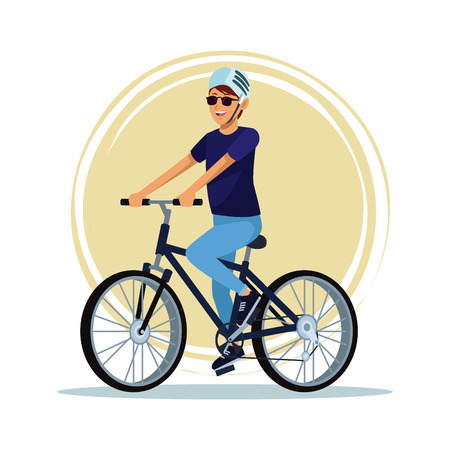 Young man riding a bike vector illustration graphic design