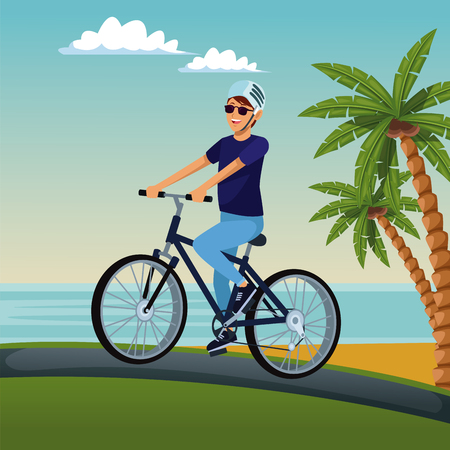 Young man riding a bike at beach vector illustration graphic design Illustration