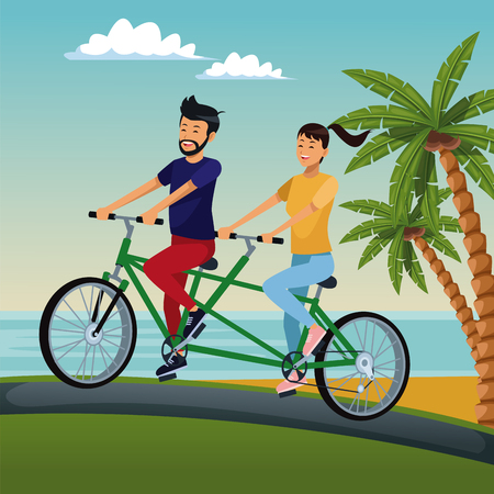 Couple riding a double bike at beach cartoon vector illustration graphic design Illustration