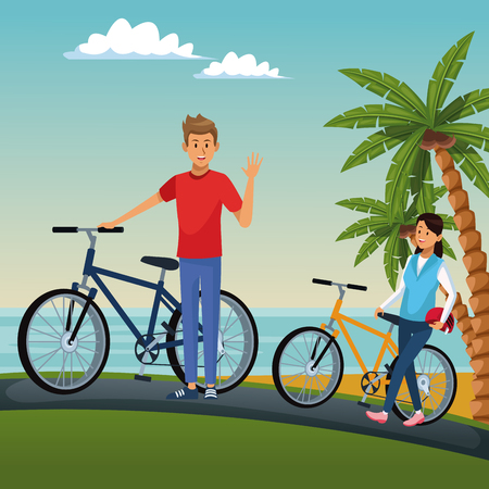Cute couple at beach with bikes vector illustration graphic design