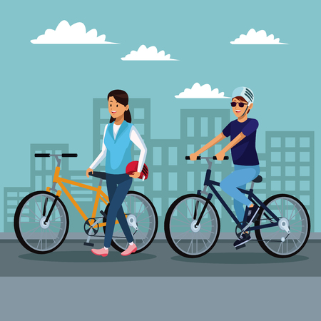 Young couple riding bikes at city vector illustration graphic design Illustration