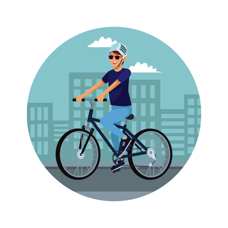 Young man riding a bike at city vector illustration graphic design