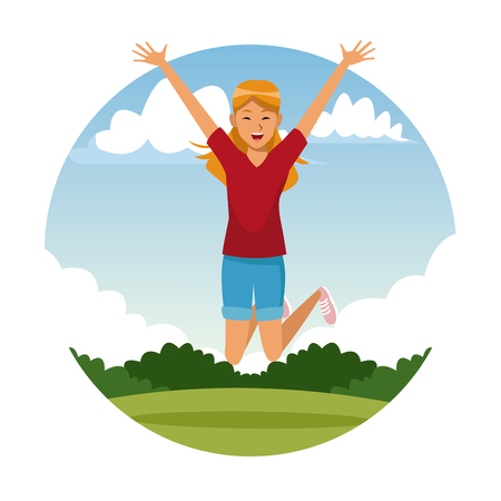 Happy woman jumping at park cartoon vector illustration graphic design Ilustrace