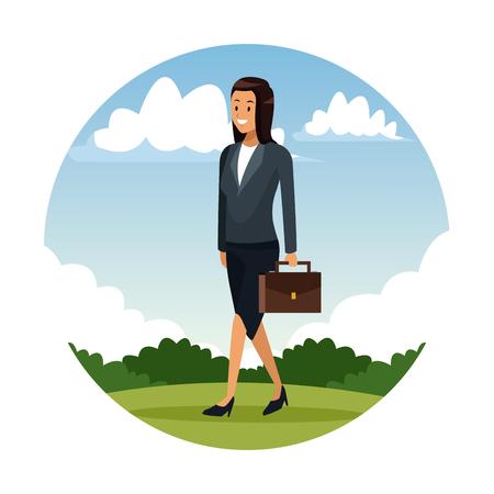 Business woman walking at city vector illustration graphic design Ilustração