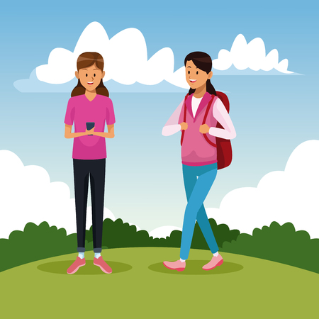 Woman chatting with smartphone at park vector illustration graphic design