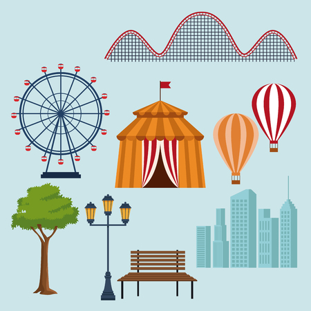 Set of amusement park elements icons vector illustration graphic design 向量圖像