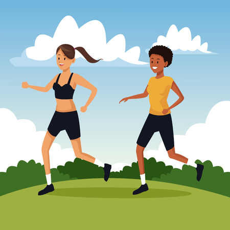 Young fitness women trainning at park vector illustration graphic design Çizim
