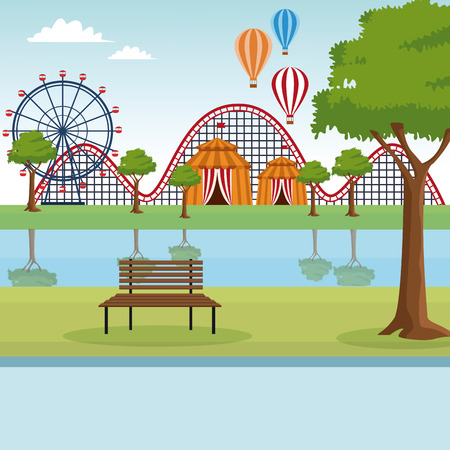 Amusement park empty scenery at sunny day vector illustration graphic design