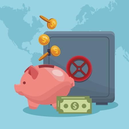Strongbox with money savings vector illustration graphic design Illustration