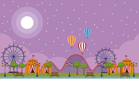 Amusement park scenery at night vector illustration graphic design