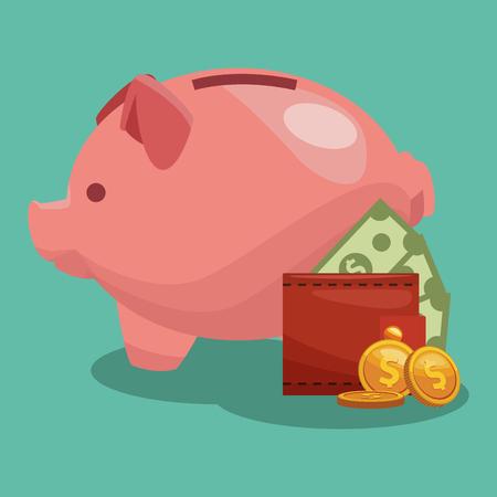 money savings inside piggy vector illustration graphic design