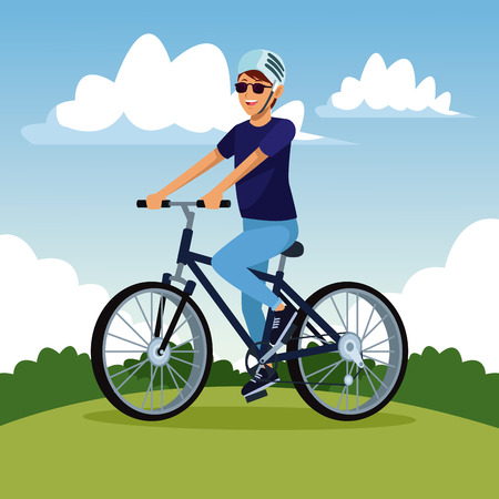 Young man riding a bike at park vector illustration graphic design