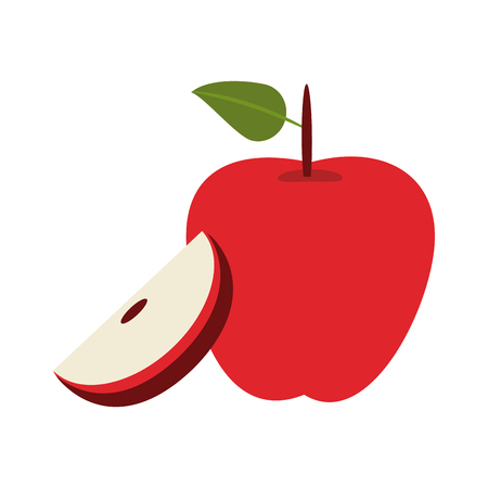 Apples half cut fruit vector illustration graphic design Illustration