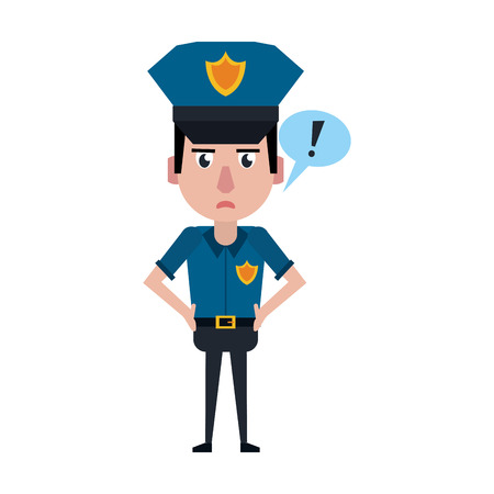 Police officer drawing attention cartoon vector illustration graphic design Ilustração