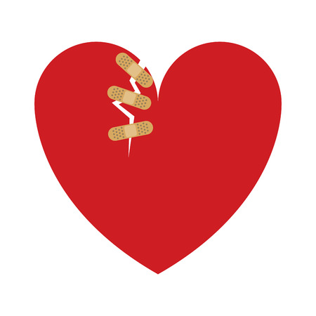 Heart with bandages vector illustration graphic design