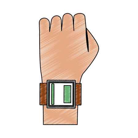 Arm with smartwatch vector illustration graphic design Vectores
