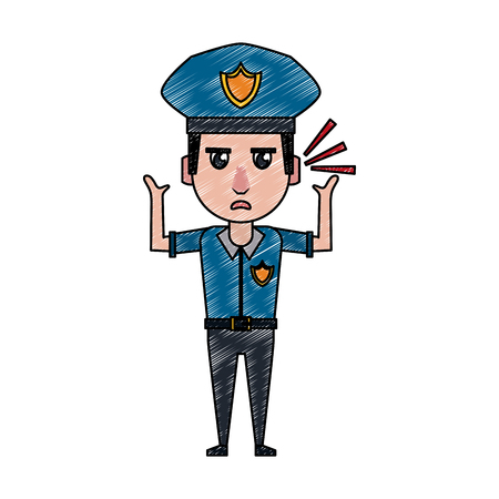 Police officer drawing attention cartoon vector illustration graphic design Vectores