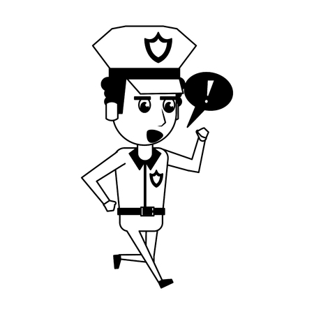 Police officer drawing attention cartoon vector illustration graphic design 矢量图像