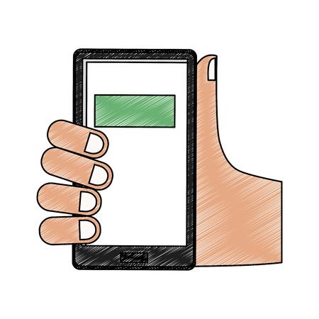 Hand using smartphone vector illustration graphic design