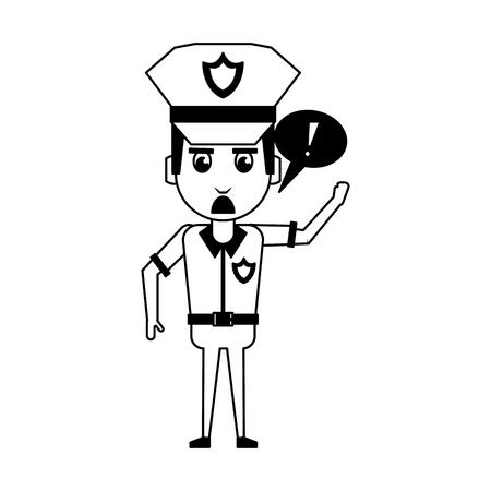 Police officer drawing attention cartoon vector illustration graphic design Illustration