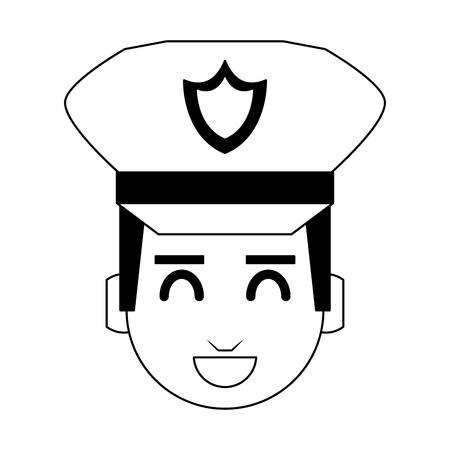 Cute police officer cartoon vector illustration graphic design Vettoriali
