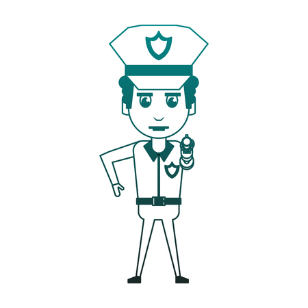 Cop pointing with handgun cartoon vector illustration graphic design