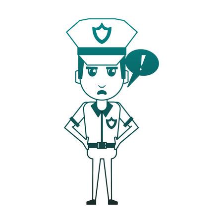 Police officer drawing attention cartoon vector illustration graphic design Vettoriali