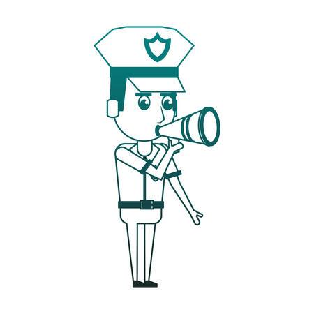 Cute police officer talking with bullhorn vector illustration graphic design