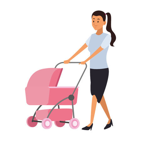 Mom with carriage vector illustration graphic design